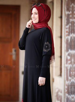 Siyah Kolları Merserize Çiçek Detaylı Elbise - ADC14585 - Thumbnail