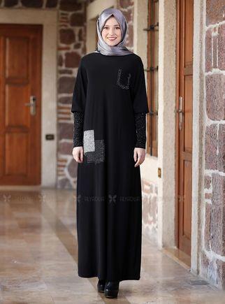 Alyadua - Siyah Kolları Merserize Taş Detaylı Elbise - ADC14582