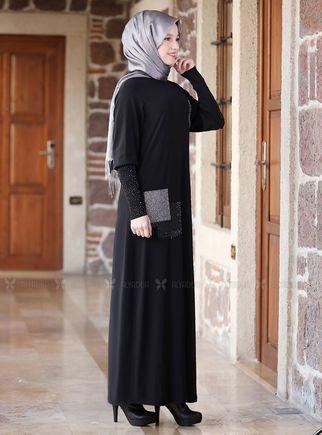 Siyah Kolları Merserize Taş Detaylı Elbise - ADC14582 - Thumbnail