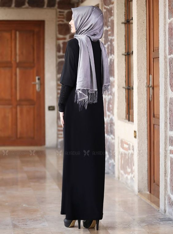 Siyah Kolları Merserize Taş Detaylı Elbise - ADC14582