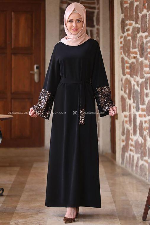 Alyadua - Siyah Kolu Payet Kemerli Elbise - AD13510