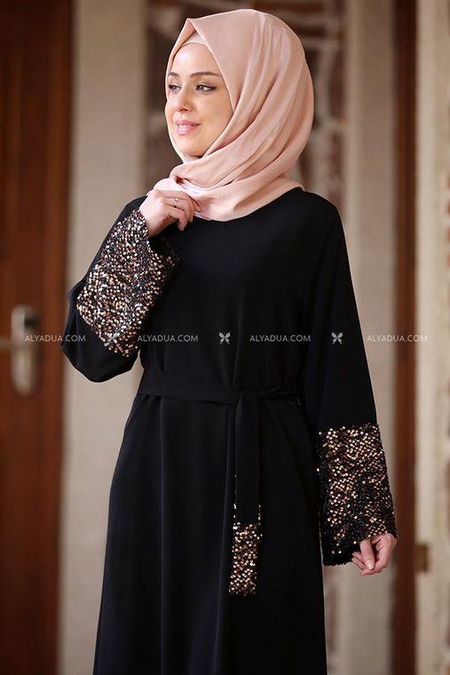 Siyah Kolu Payet Kemerli Elbise - AD13510