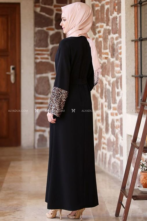 - Siyah Kolu Payet Kemerli Elbise - AD13510 (1)