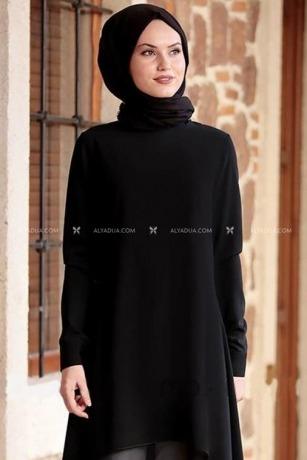 Siyah Krep Şifon Tunik - AD12756 - Thumbnail