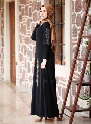 Siyah Leopar Detaylı Elbise - ADC14623 - Thumbnail