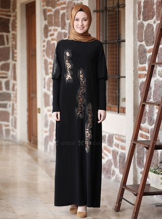 Alyadua - Siyah Leopar Detaylı Elbise - ADC14623