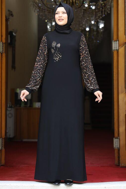 Amine Hüma - Siyah Leopar Elbise - AMH16215