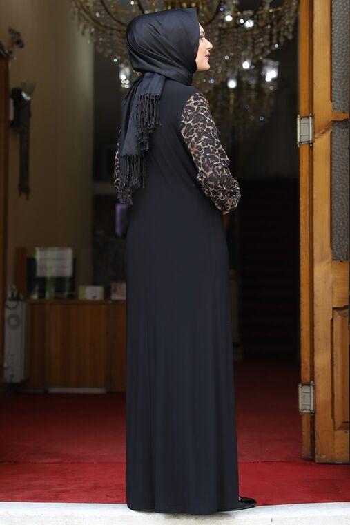 Siyah Leopar Elbise - AMH16215