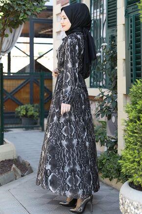 Siyah Lorin Elbise - ES15894 - Thumbnail
