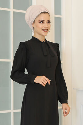 Siyah Merve Elbise - DL16495 - Thumbnail