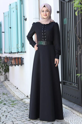 Ahunisa - Siyah Mina Elbise - AHU16530