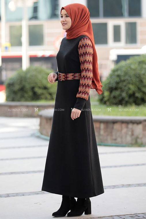 Siyah Minel Elbise - RZ14193