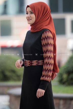 Siyah Minel Elbise - RZ14193 - Thumbnail