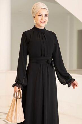 Siyah Miraç Elbise - DL15677 - Thumbnail