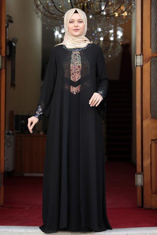 Amine Hüma - Siyah Narin Abiye - AMH16463
