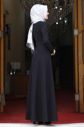 Siyah Nergis Elbise - NM15947 - Thumbnail