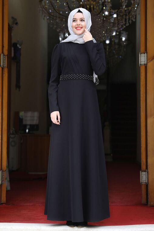 Nidya Moda - Siyah Nergis Elbise - NM15947