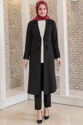 Fashion Showcase - Siyah Nervürlü İkili Takım - FS15696