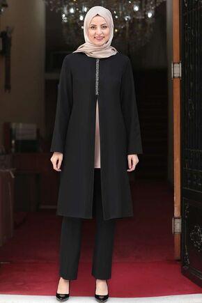 Siyah Nervürlü Taş Detay İkili Takım - FS15981 - Thumbnail
