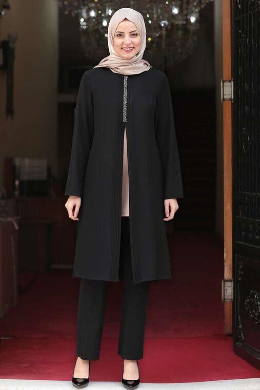 Siyah Nervürlü Taş Detay İkili Takım - FS15981