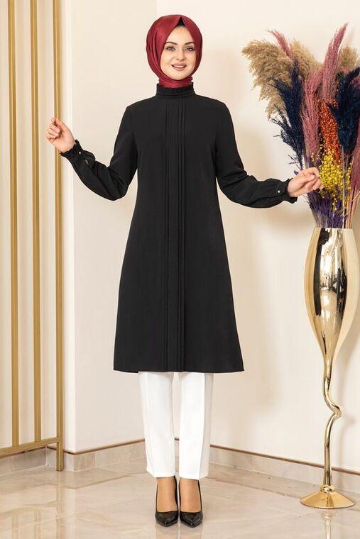 Fashion Showcase - Siyah Nervürlü Tunik - FS15866