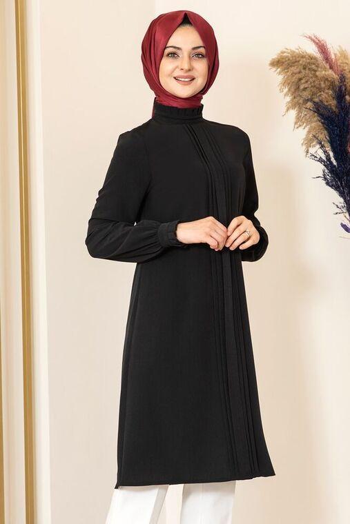 Siyah Nervürlü Tunik - FS15866