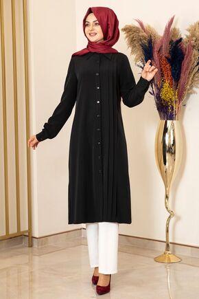 Fashion Showcase - Siyah Nervürlü Uzun Tunik - FS15856