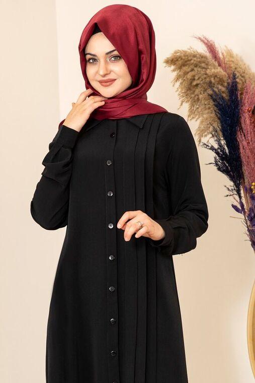 Siyah Nervürlü Uzun Tunik - FS15856