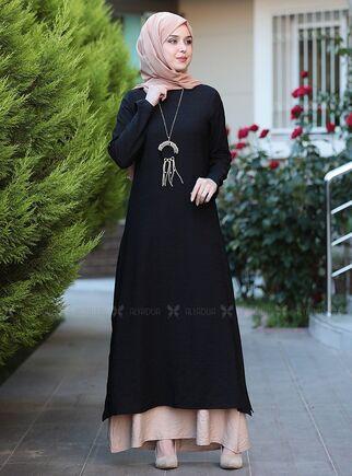 Emsale - Siyah Otantik Elbise - ES15144