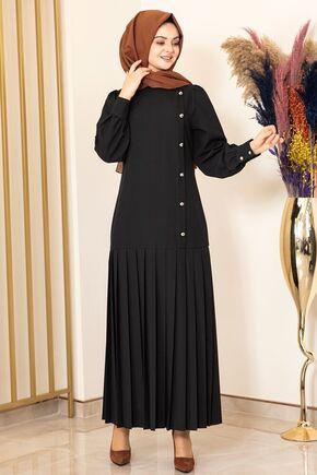 Fashion Showcase - Siyah Piliseli Damla Elbise - FS15849