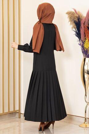 Siyah Piliseli Damla Elbise - FS15849 - Thumbnail