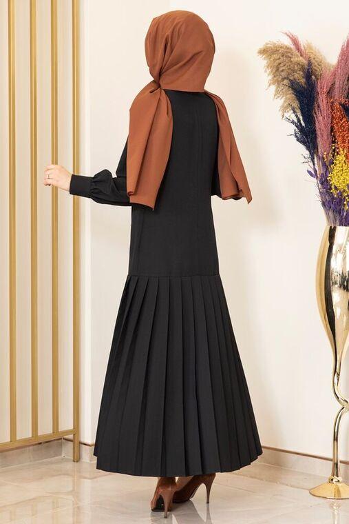 Siyah Piliseli Damla Elbise - FS15849