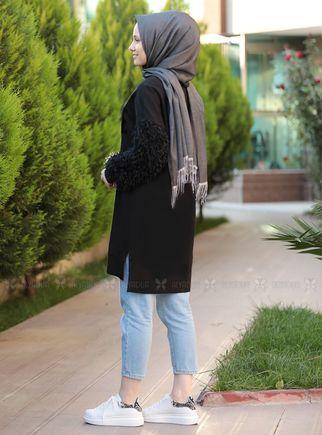 Siyah Püsküllü Tunik - ADC14605 - Thumbnail