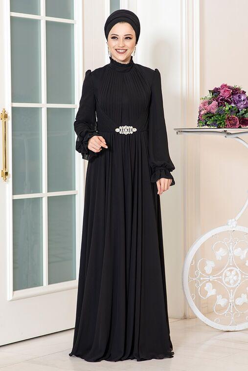 Dress Life - Siyah Rüya Şifon Abiye - DL16227