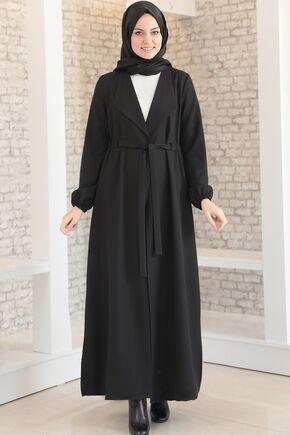 Fashion Showcase - Siyah Şal Yaka Uzun Kap - FS15699