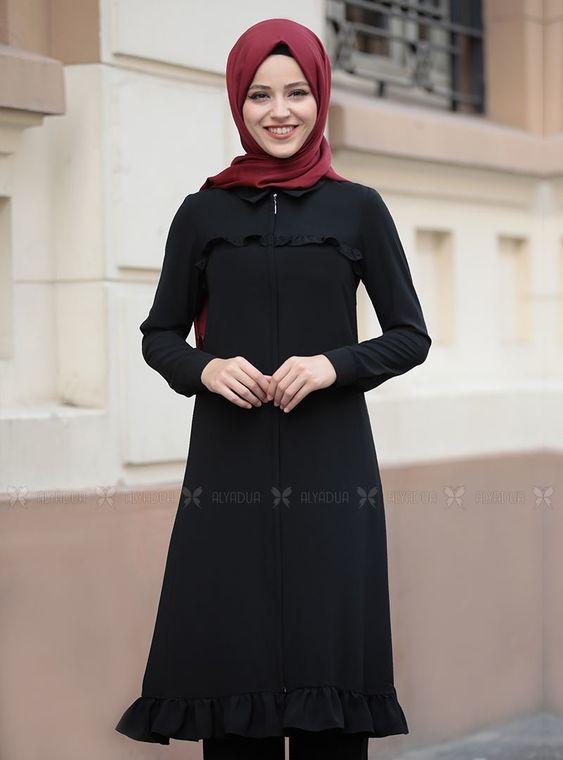 Siyah Sare Uzun Kap Tunik - DL14281