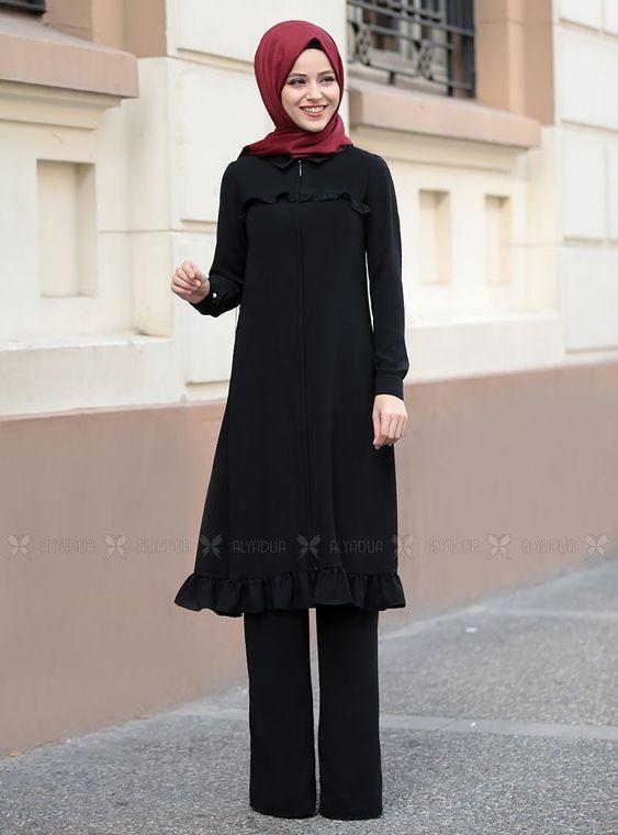 Dress Life - Siyah Sare Uzun Kap Tunik - DL14281