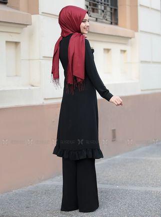 Siyah Sare Uzun Kap Tunik - DL14281 - Thumbnail