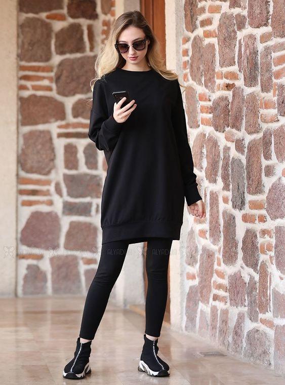 Siyah Seda Tunik - ADC14610