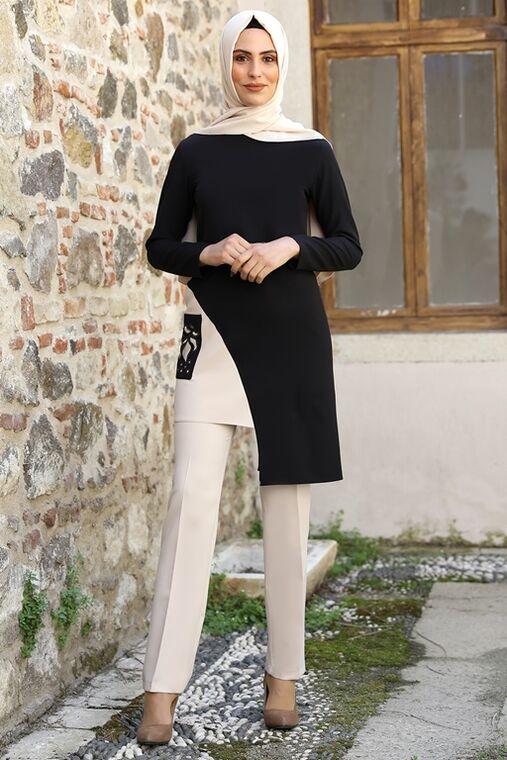 Nidya Moda - Siyah Şehrazat İkili Takım - NM16045