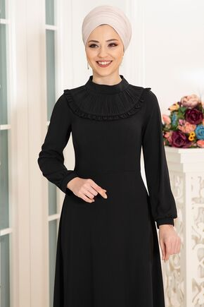 Siyah Selin Elbise - DL16166 - Thumbnail