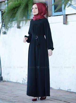 Siyah Şenay Elbise - ES14569 - Thumbnail