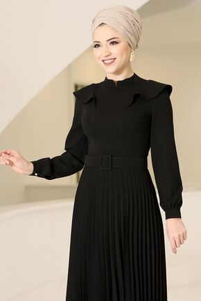 Siyah Serra Elbise - DL16175 - Thumbnail
