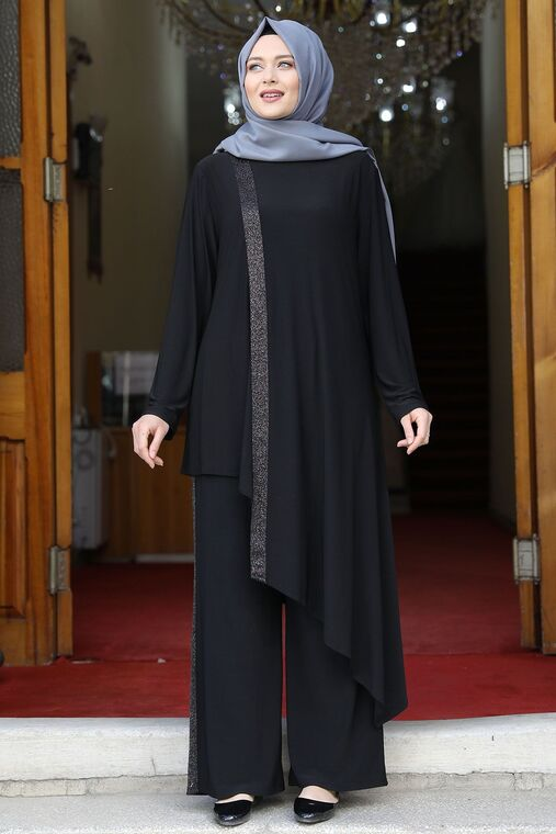 Amine Hüma - Siyah Sim Şeritli İkili Takım - AMH16075