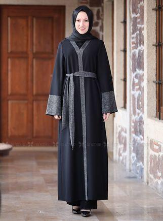 Emsale - Siyah Simli Abaya - ES14699