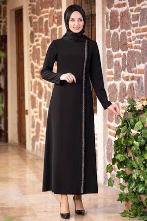Fashion Showcase - Siyah Taş Detay Bağcıklı Ferace - FS16184