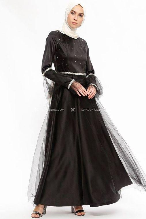 Sema Şimşek - Siyah Taş Detaylı Abiye - SŞ13159