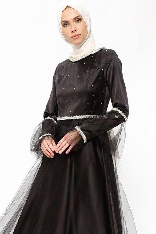 - Siyah Taş Detaylı Abiye - SŞ13159 (1)