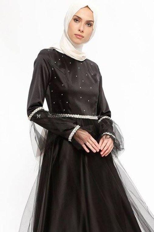 Siyah Taş Detaylı Abiye - SŞ13159