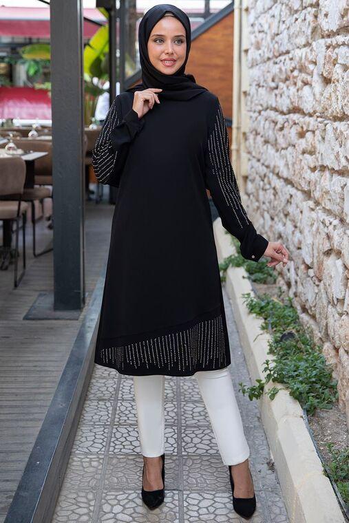 Emsale - Siyah Taş Detaylı Tunik - ES15395